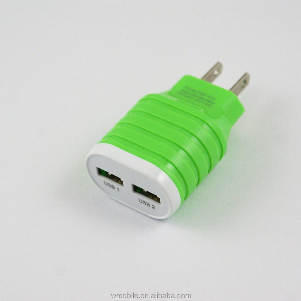 High quality 100pcs/lot colorful Full 2A Capacity US Ac home wall charger power adapter