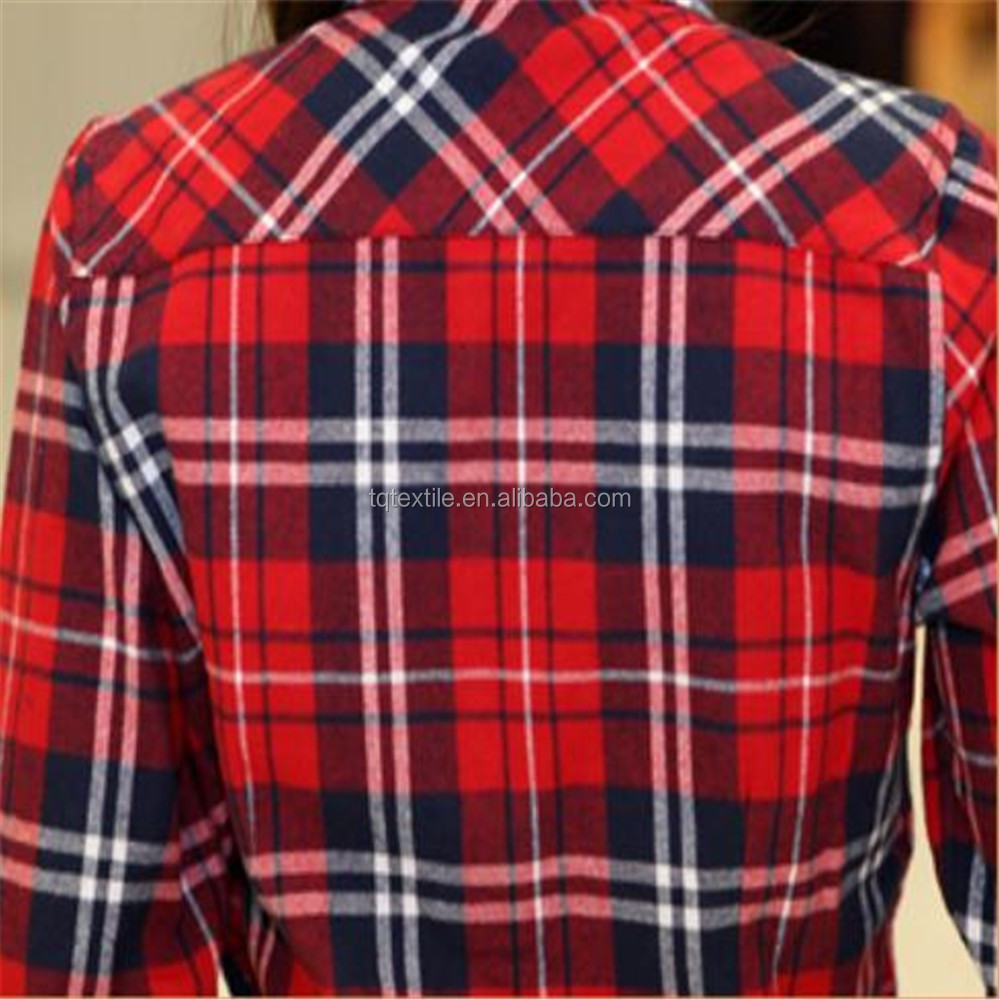 plaid checks printed cotton flannel fabric,stocklot cotton flannel shirting fabric wholesale,American flannel shaoxing supplier