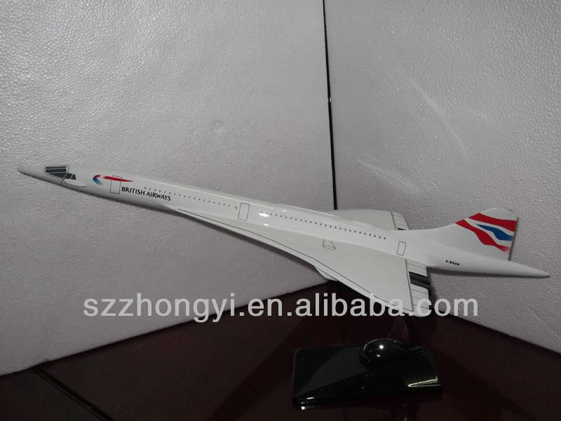 polyresin Concorde supersonic passenger plane model