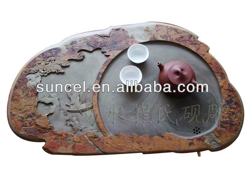 Chinese Culture Stone Tea Tray Carved