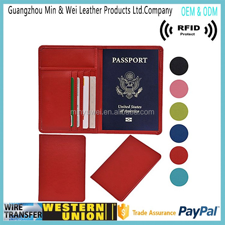 Factory OEM genuine leather Passport Holder travel passport wallet business card holder Passport case with RFID Blocking