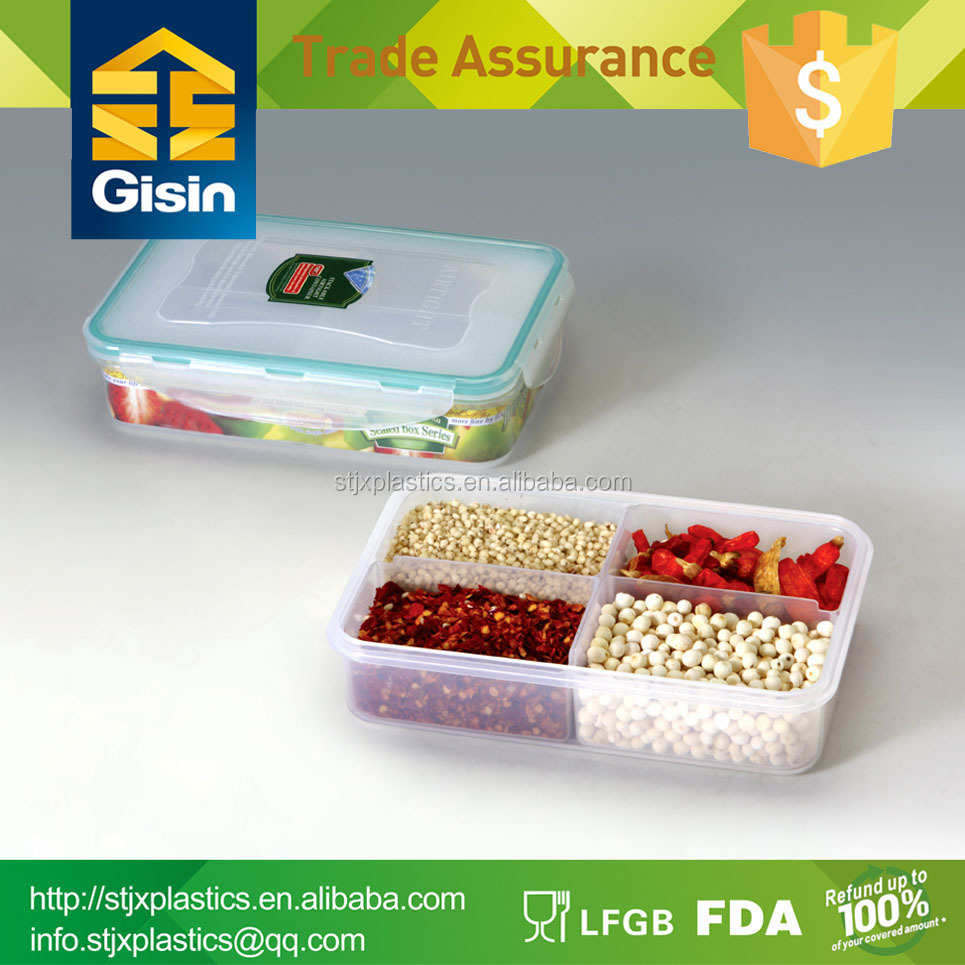 Clear PP plastic food container lunch box with compartments