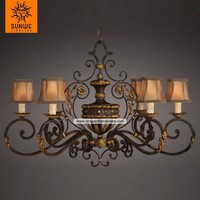 Country style 6 lights gold leaf metal fabric chandelier