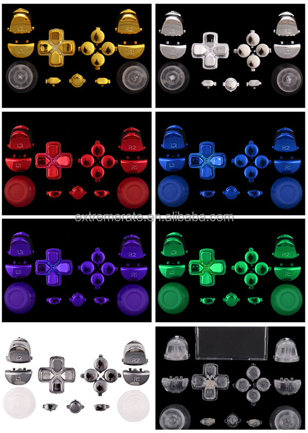 2015 unique design chrome full controller buttons kits for ps4 controller custmized