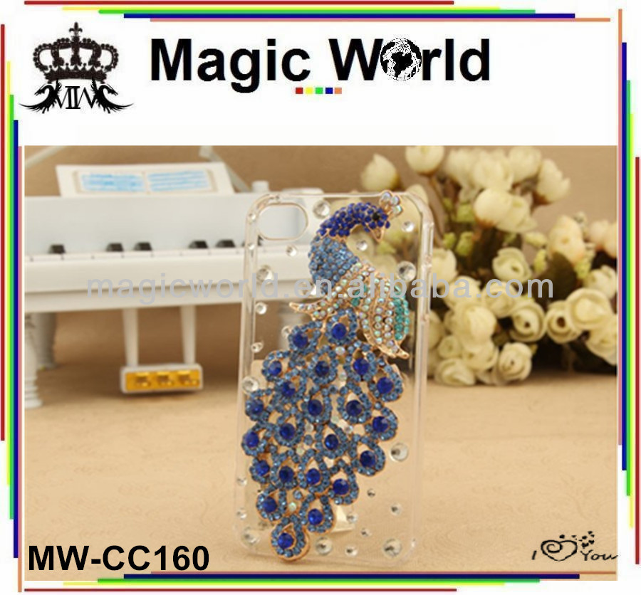 Noble elegant colorful peacock shaped diamond mobile phone cover