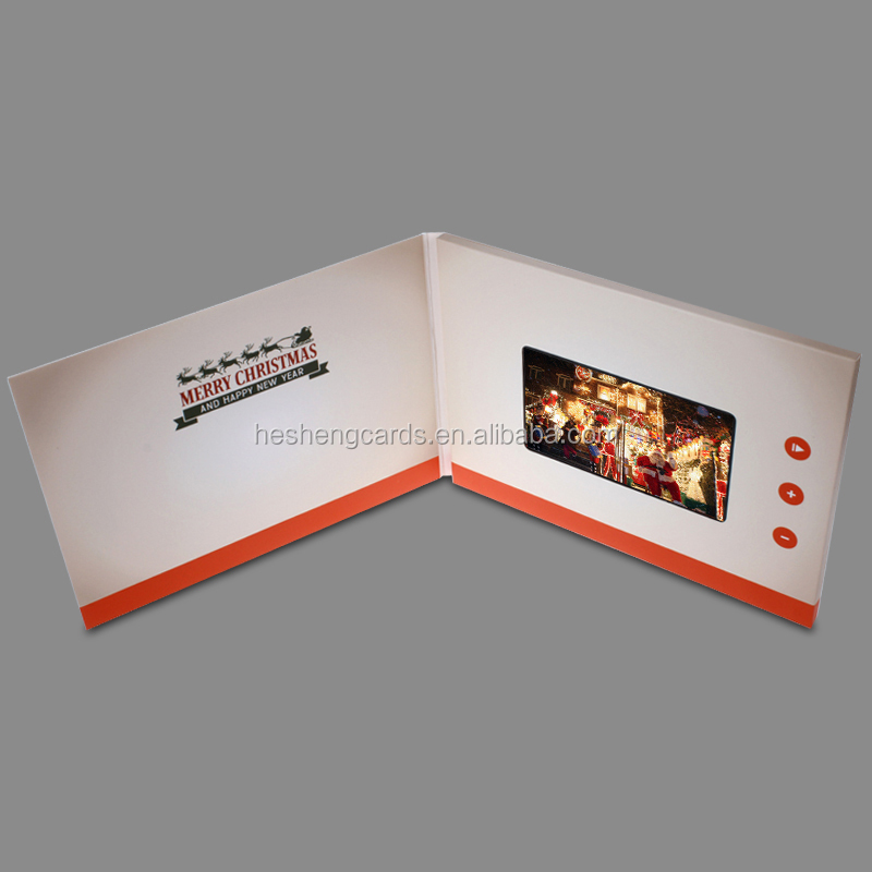 2016 Chinese factory custom best price electronic invitation LCD video greeting card, Marry Christmas card