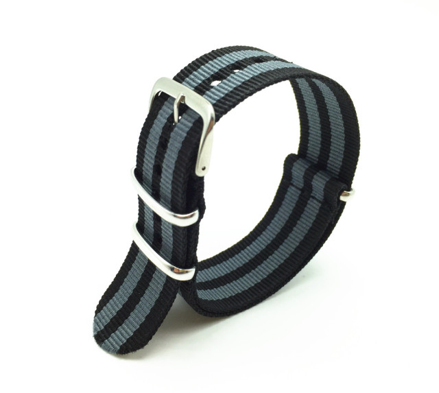 18 22 24mm Black/Grey Striped Nato Strap for Army Sport Watch Nylon Watchband