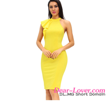 Yellow One Shoulder Ruffle new Sleeve Midi wholesale evening dress