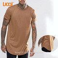 Luoqi Oem/Odm 100% Cotton 180g Camel Colour Curved Hem Custom Men T Shirt Printing