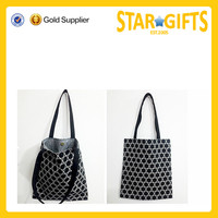 Simple design snap-fastener button cotton shopping bag
