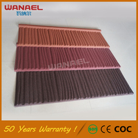 Plain Roof Tiles Wanael 50-years warranty metal corrugated roof tile sand coated roofing tiles for sale