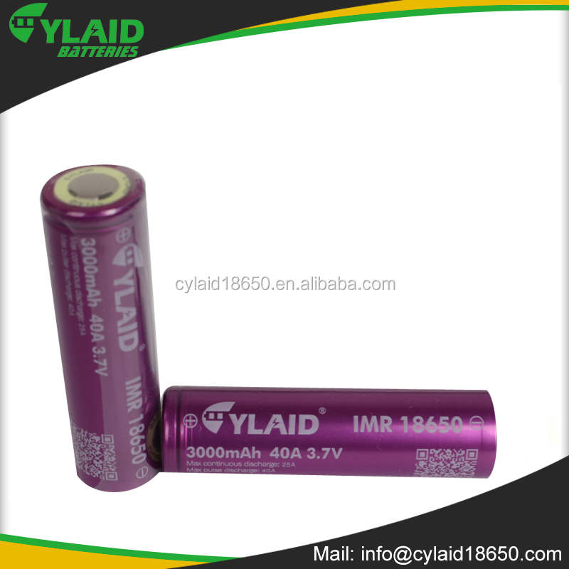 New Packing noctilucence Cylaid IMR 18650 3000mah 40a Ecig vape mod Battery 18650 battery