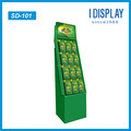 Corrugated Cardboard Display Rack with plastic hooks for merchandise