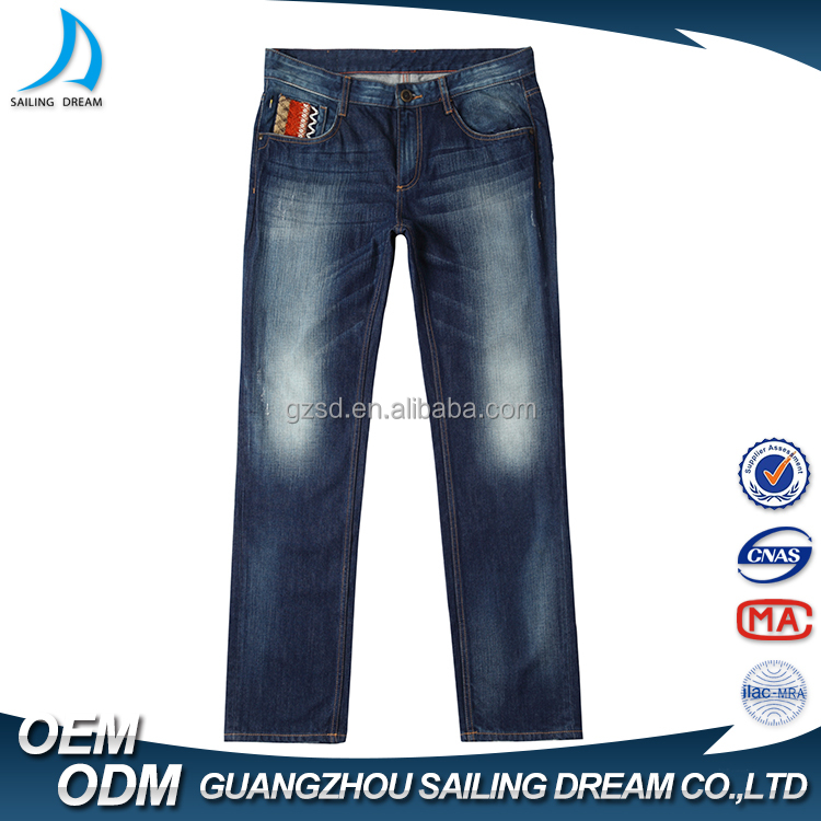 New style straight-leg denim jeans slacks low price blue embroidery pocket design men branded jeans