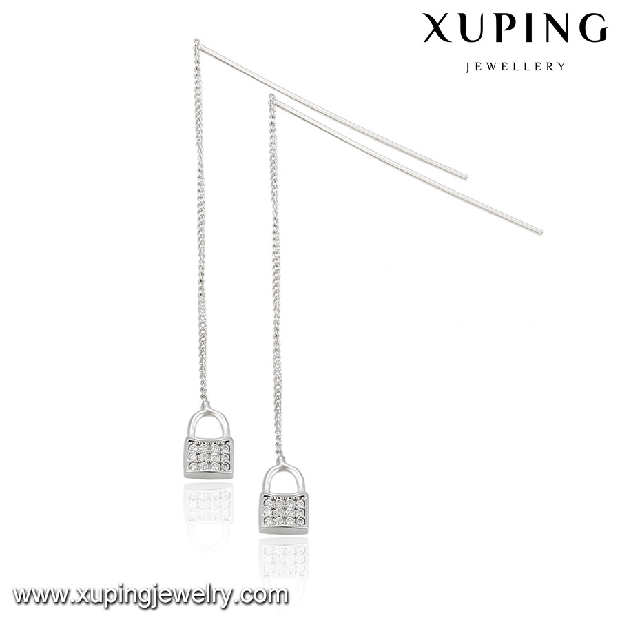 92499 XUPING lock hanging earring design,pave diamond earring,chain earring