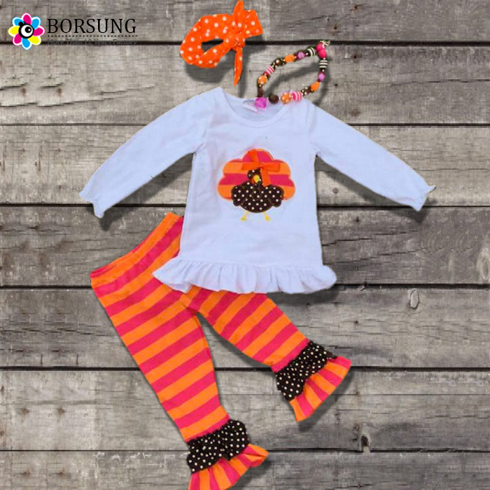 Baby Girl Clothes Orange Striped Turkey Outfit Girl Boutique Monogram Thanksgiving Outfit Kids Girls Halloween Costume