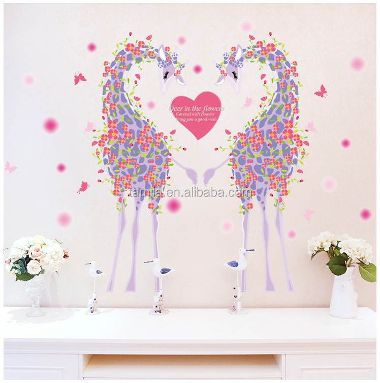 Removable custom hot sales creative PVC bedroom warm home baby house giraffe animal wall sticker