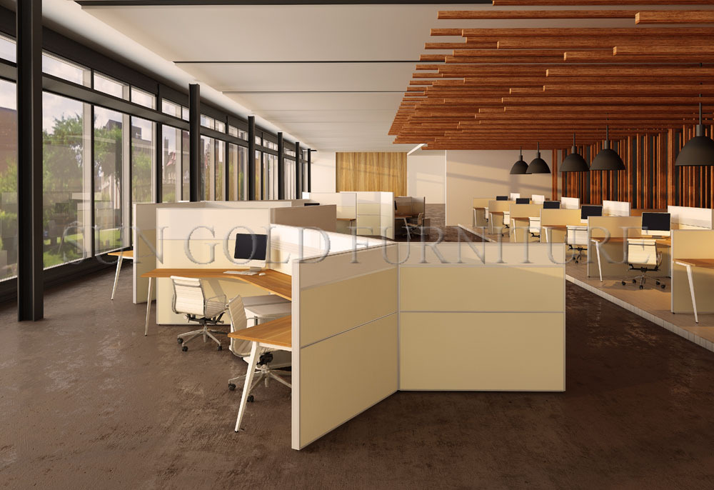 Glazed Office Cubicles : Orange seat office cubicles with wooden glass walls