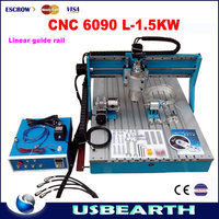 CNC 6090 L-1.5KW 4 axis Linear Guide Rail metal Wood engraving machine PCB drilling router