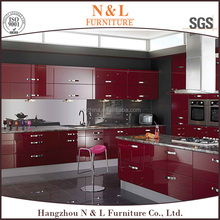 building materials Dark cherry finish and Maple solid wood kitchen furniture poland