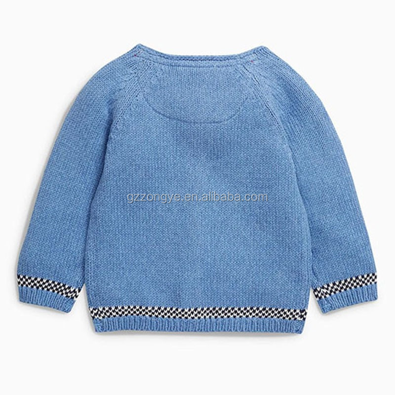 2016 Autumn Blue Embroidered kids Cardigan