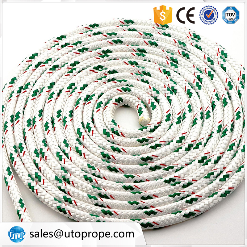UTOP 10mm 200m White with Green PP double braided sailing cruising line for marine
