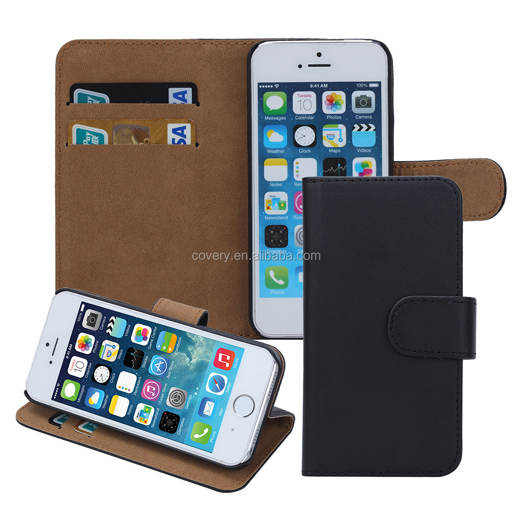 plain wallet leather mobile phone case for iphone 5