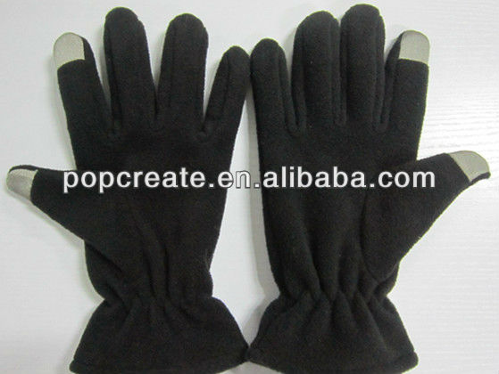 Fashional two finger fleece black touch gloves