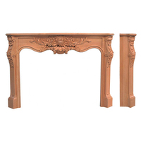 Scroll with Shell Carved Wooden Fireplace Mantel PT8007