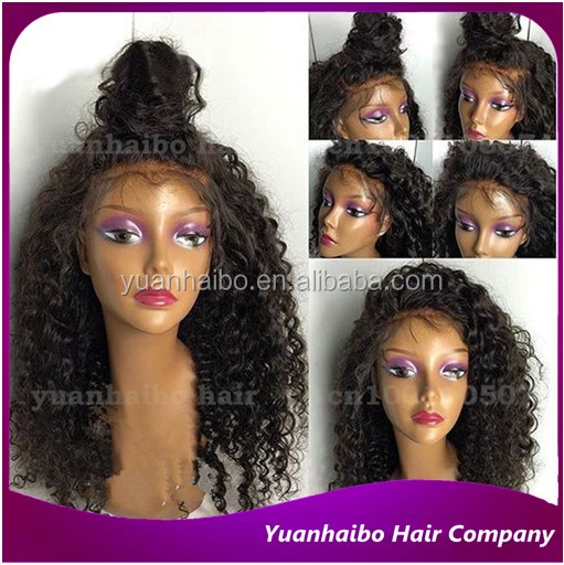 Best quality 1b# indian curly hair kinky curl 100 real human hair full lace wig with baby hair