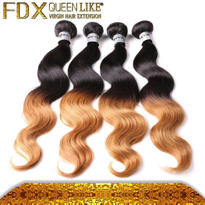 Unprocessed virgin remy double weft two tone ombre remy hair weaving