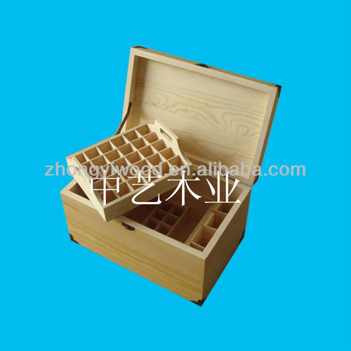rectangular wooden essential oil box with 28 compariments