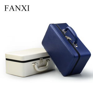 FANXI Stock High End Portable PU Case with Zipper Handle Ring Earrings Necklace Tray Storage Leather Travel Jewelry Organizer