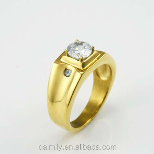 Daimily Jewelry Wholesale Men's 316L stainless steel wedding ring of Steel set Zircon gold color Rings
