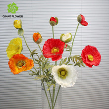 Guangzhou manufacturing silk simulation flower poppy Artificial flower poppy wholesale