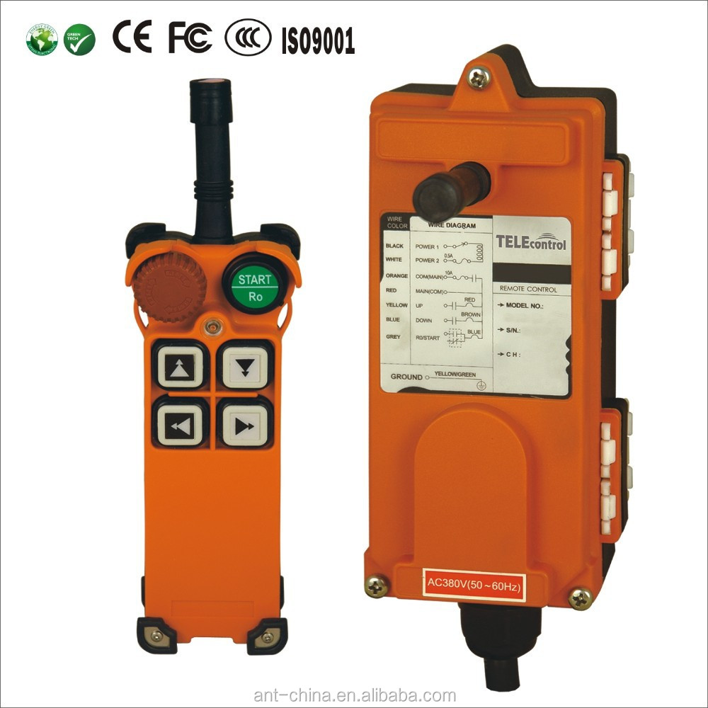 2 speed push buttons industrial remote control for town crane, electric hoist F21-4D crane remote control