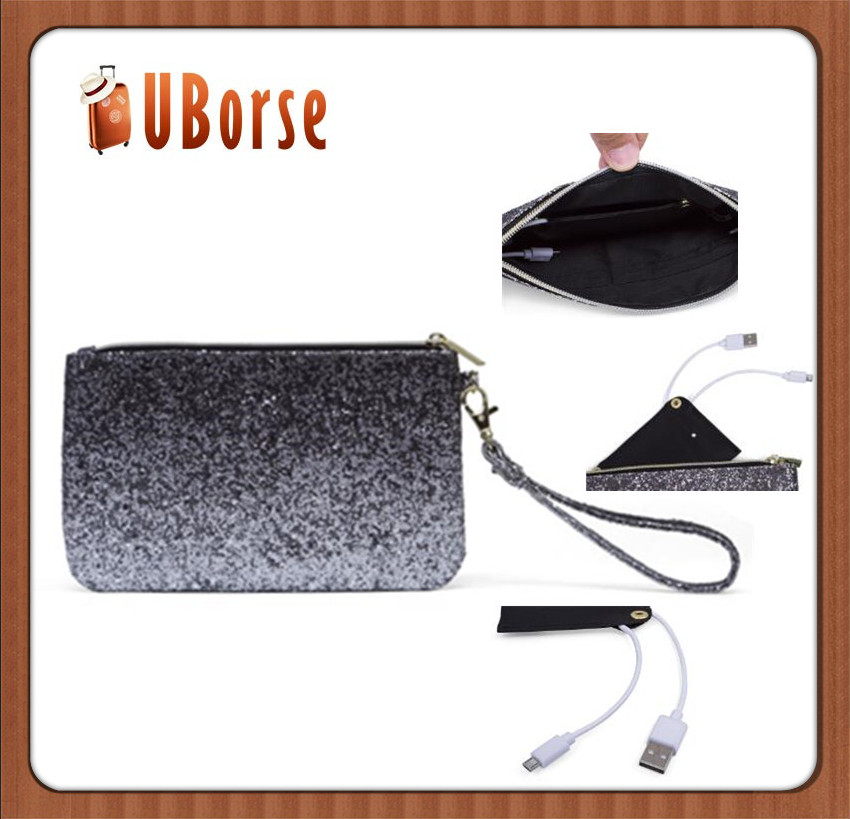 UBORSE lady fashion handbag / Women Gift PU leather cosmetic clutch handbag with Power bag