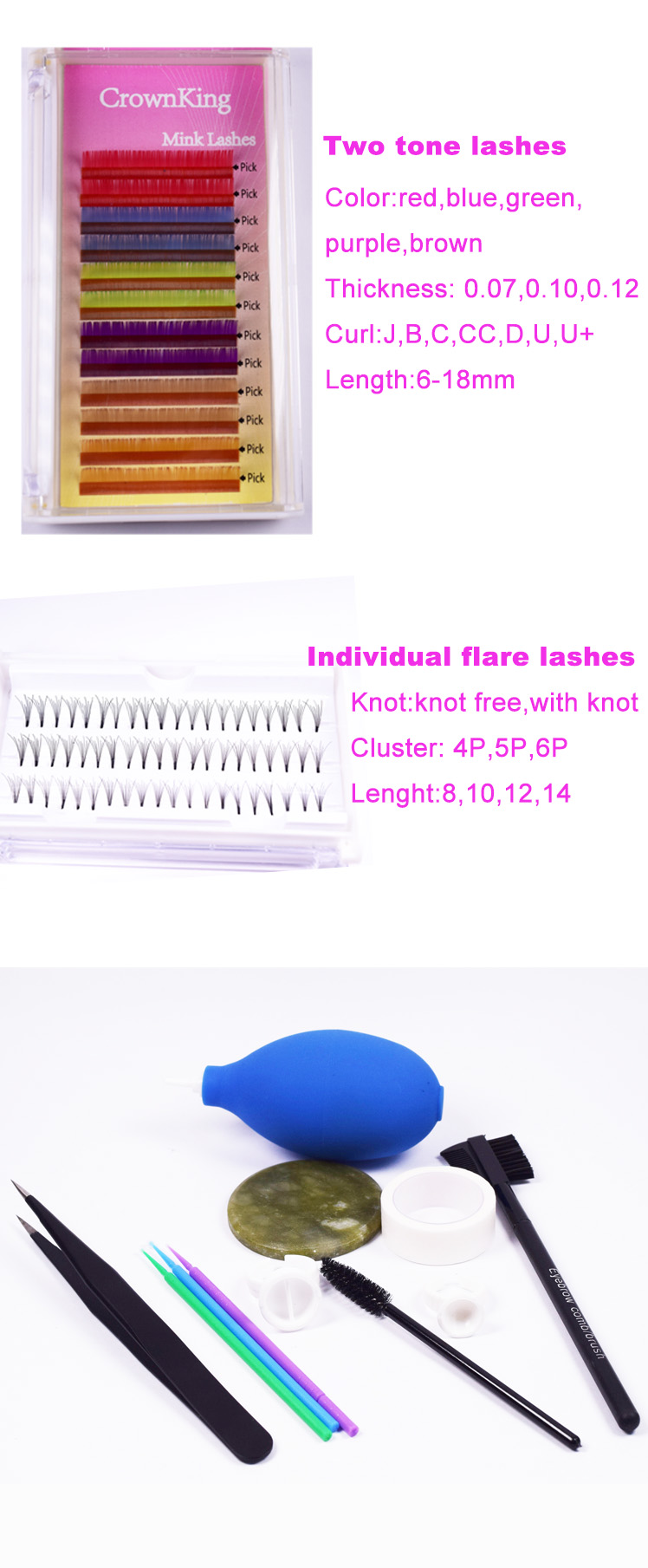 Private label ombre color eyelash extensions in 0.10,0.12