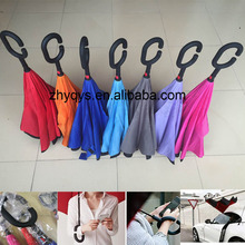 Fashion Straight Rod Double Layer Inverted Umbrella With C-Shaped Hands Free Handle reverse umbrella