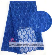 2015 hot cord lace fabrics with sotnes/royal blue cord fabrics for wedding