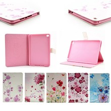 Luxury printing Flower design Leather for iPad Mini 4 case, stand leather case for ipad mini 4