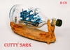 CUTTY SARK SHIP IN HENESSY BOTTLE, UNIQUE NAUTICAL STYLE - HANDMADE SHIP MODEL