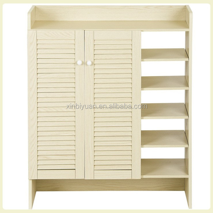 wooden white color shoe cabinets shutter layers 2 doors shoe racks