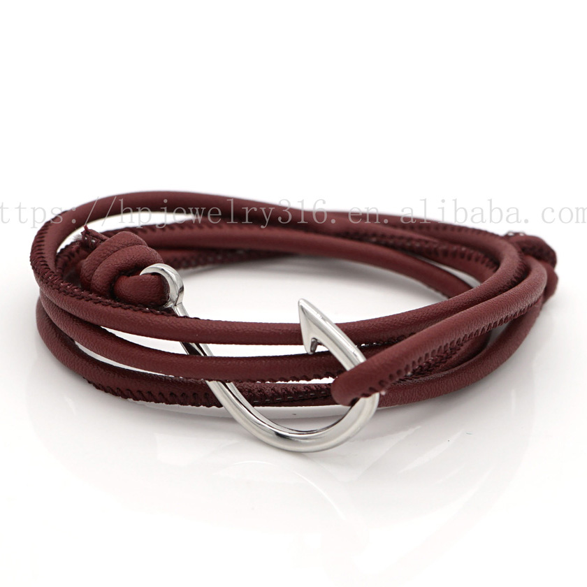 5% discount now!!! rope metal bracelet anchor hooks HPYP2855 custom sailor knot woven nylon braided anchor bracelet meaning