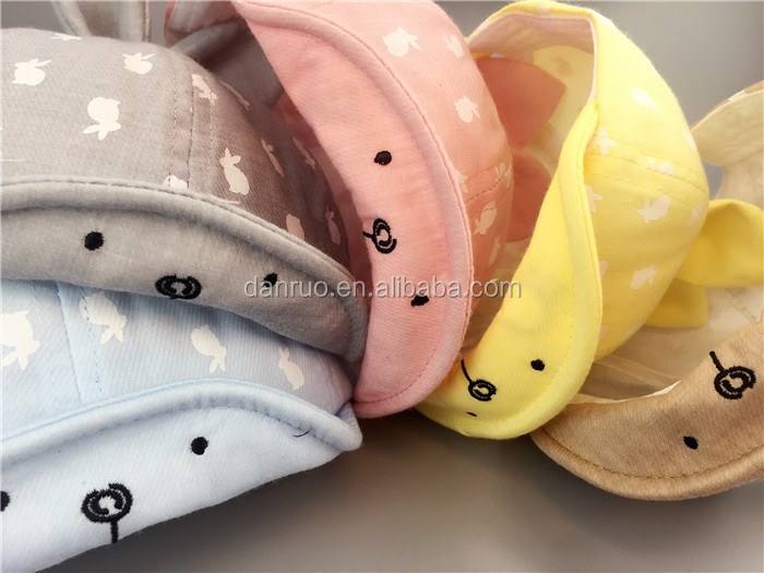 Spring, summer, the new men's and women's baby soft along the baseball cap baby sunshade hat cartoon rabbit ear cap