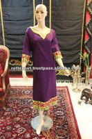 V style neck kaftan in purple colour