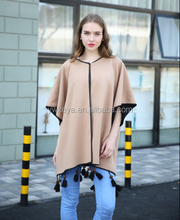 2016 New Fashion Women Winter Acrylic Thick Large Plain Blanket Poncho Shawl With Tassels