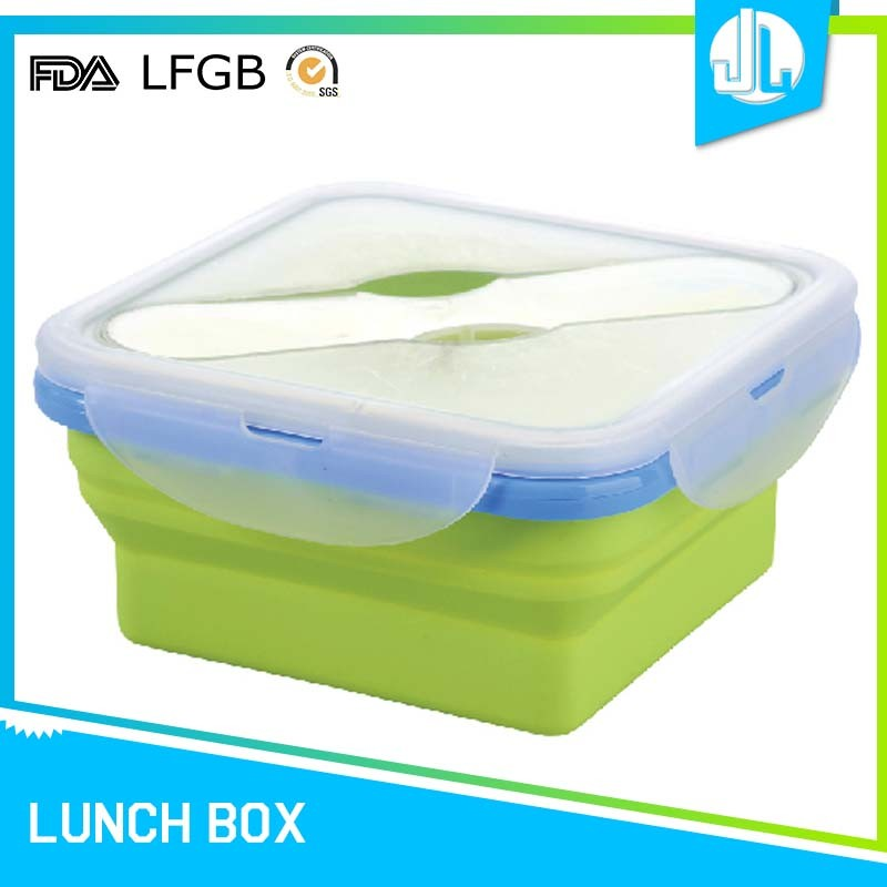 New colorful microwaveable collapsible silicone food containers