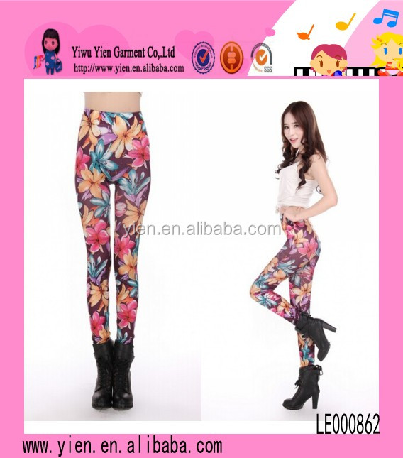 Amazing Flower Print Leggings Bright Korea Women Sex Hot Leggings