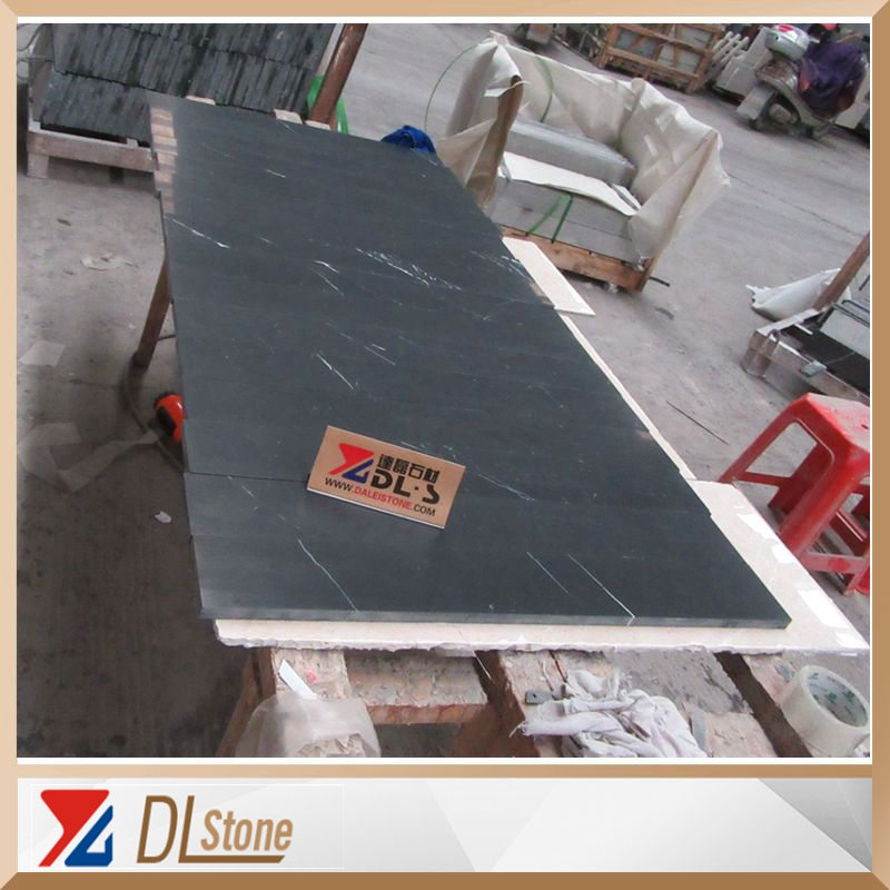 China Black Marble Honed Nero Marquina Thin Tiles